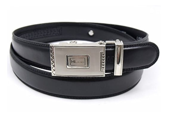 Men/'s Leather Belt Automatic Buckle Ratchet Fits From Size 28-48 Black Color