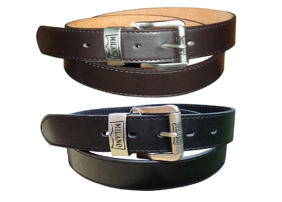 """Black or Brown 48/"""" Gift Box Option Men/'s Leather Jeans Belt 28/"""" by Milano®"""