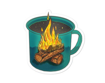 Coffee Shapes & Spaces : Camping - Vinyl Sticker