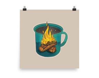 """Coffee Shapes & Spaces : Camping - 12"""" Matte Poster"""