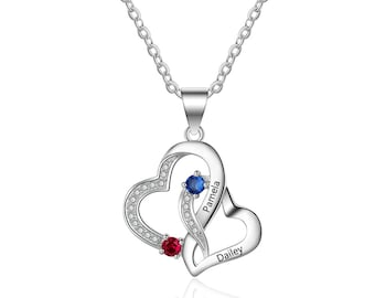 2126602312 Promise Necklace Personalized with 2 Names and 2 Birthstones | Couples  Necklace | Two Hearts Necklace | Linked Hearts Sterling Silver | Q30