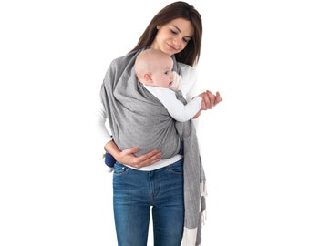 82b3368926a Ring Sling Baby Carrier 100% Cotton Grey - Eco-Friendly Handwoven Soft  Fabric - Ring Sling Baby Wrap Carrier - Best Baby Shower Gift