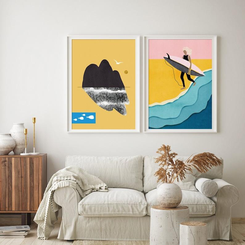 Art Painting Beach canvas Australia ocean surfing surf waves  seascape seagull