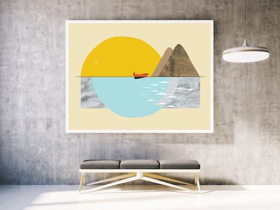 Australian  sunset beach ocean art landscape print photograph 700mm x 500mm