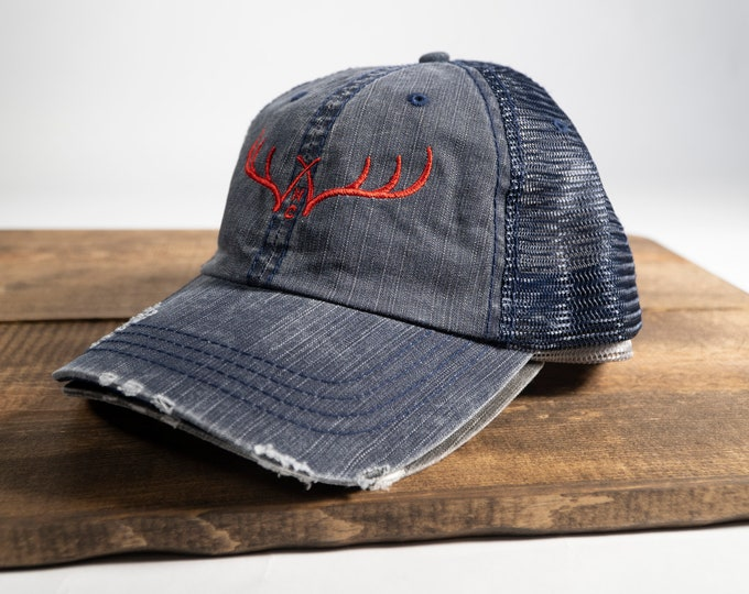 WXW Antlers Red Distressed Trucker Hat