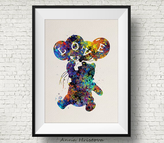 Eeyore from Winnie the Pooh Watercolor illustrations Art Print Wall Poster Gicle