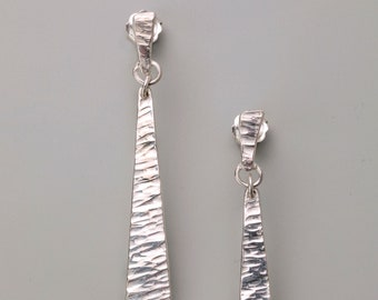 Sterling Silver Hand Forged Straight Earring Drops