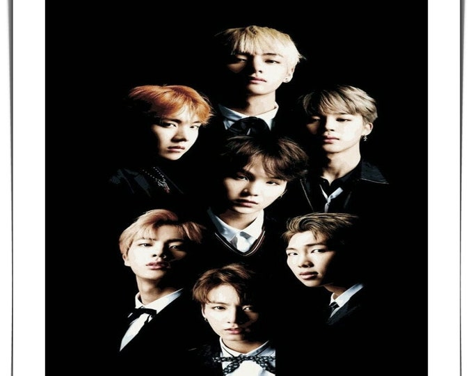 Vintage photo handmade Polaroid style photo BTS Pop band South Korean Boy Band music group photo