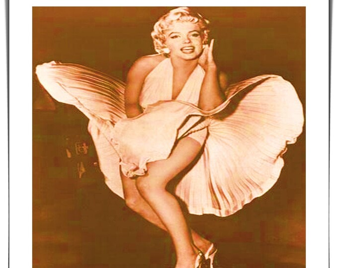 Vintage photo handmade Polaroid style photo Marilyn Monroe in her famous white dress 1950's style