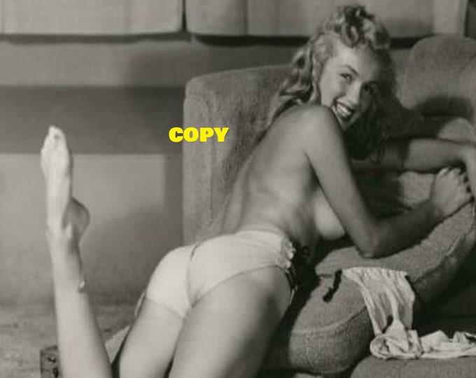 Vintage Marilyn Monroe black and white topless nude laying down 1950's young reprint photo poster RP