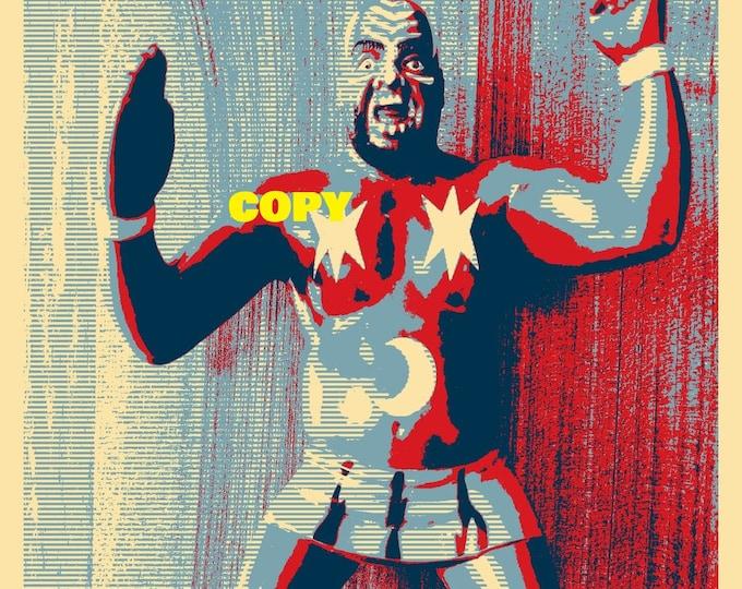 Custom made Pop Art Kamala WWF LJN toy figure wrestler wrestling toy photo picture retro style art 4x6