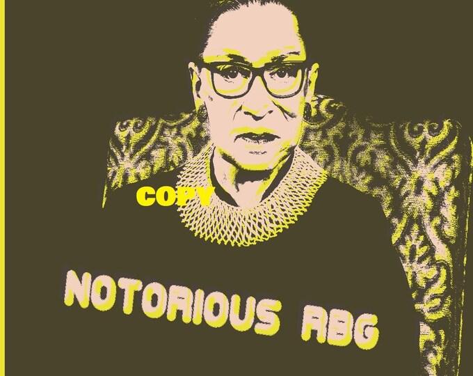 Custom Pop Art print photo card art card Notorious RBG Judge Ruth Bader Ginsburg retro style photo RP 4x6