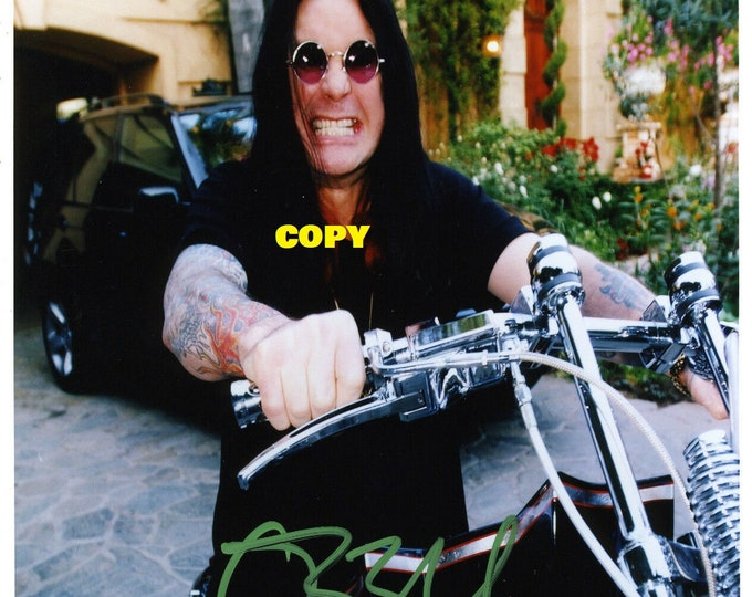 Ozzy Osbourne on motorbike signed reprint photo poster autograph RP