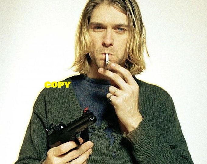 Nirvana band Grunge Kurt Cobain holding a gun and smoking playing guitar 1990's photo shoot photo picture RP 4x6 you pick photo