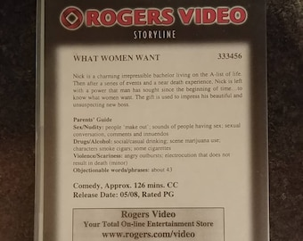 Rare Canadian Rogers Video former rental VHS tape Rogers Video Store What Women Want movie rental case
