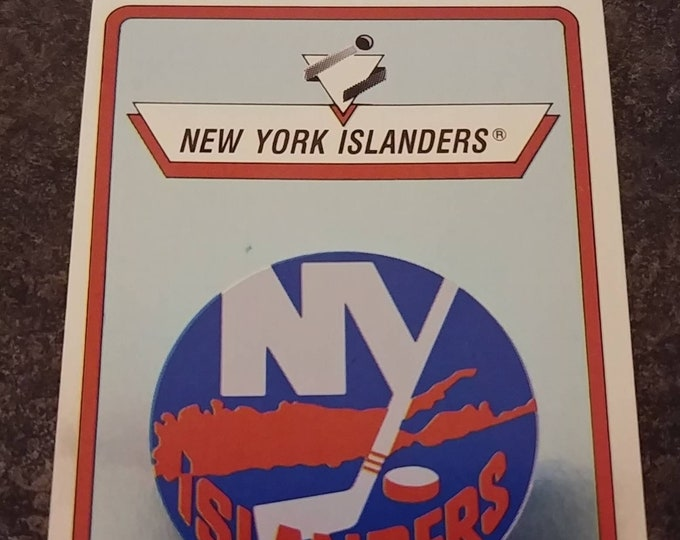 Panini Hockey 1990-91 NHL sticker album sticker book #87 Foil New York Islanders logo