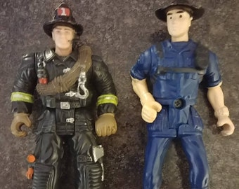 Chap Mei 1990's action figures Policeman and Firefighter Fire Squad Rescue Team GI Joe toys Hong Kong HK Design 3.75 inches