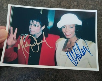 Vintage retro Michael Jackson and Whitney Houston music stars King of Pop 1980's photo picture color 4x6