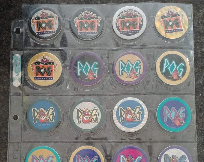 World Pog Federation Pogs Series 1 COMPLETE set of 70 Pogs and 4 plastic Slammers Milk Caps Pog 1994 Canada Games