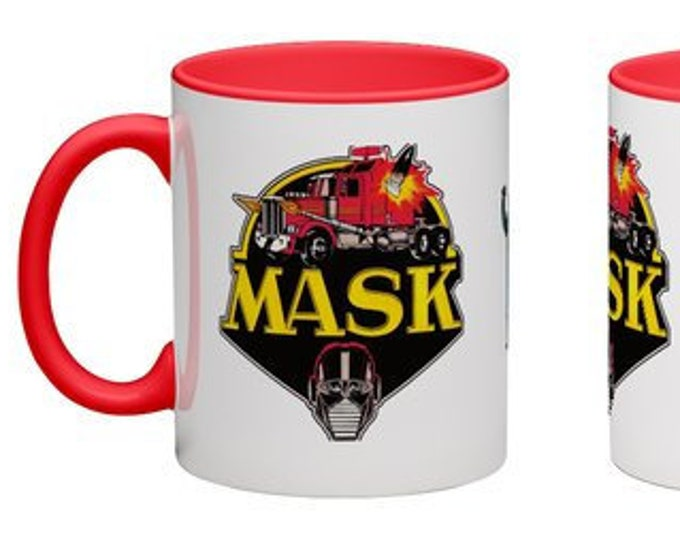 Handmade Coffee Mug M.A.S.K. Kenner logo 1980's cartoon Mask toys cup wraparound PICK OWN color custom made