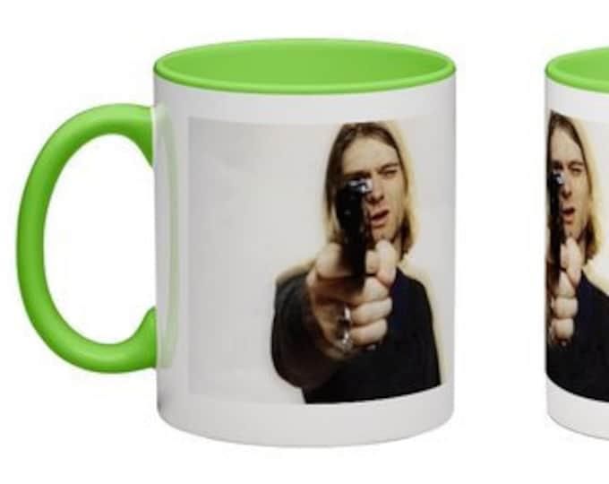 Handmade Coffee Mug Kurt Cobain with gun smoking Grunge Nirvana cup wraparound PICK OWN color custom made