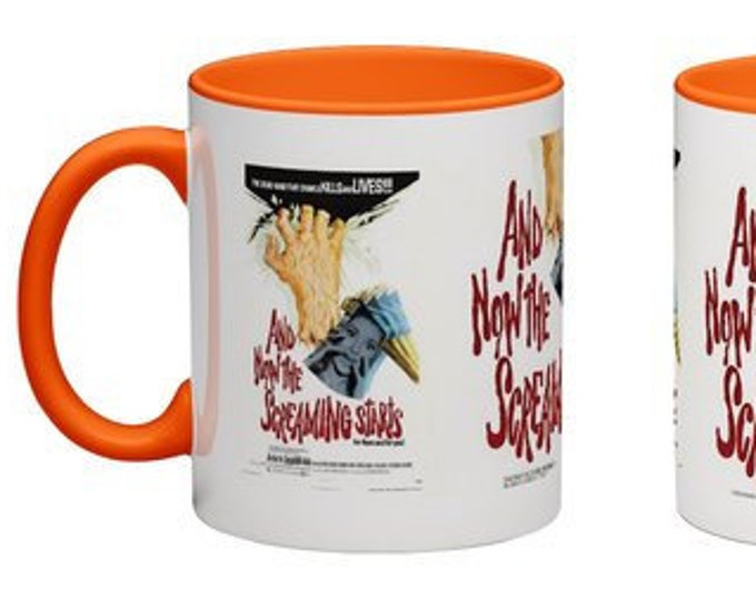 Handmade Coffee Mug And Now The Screaming Starts horror movie 1974 cup wraparound PICK OWN color custom made