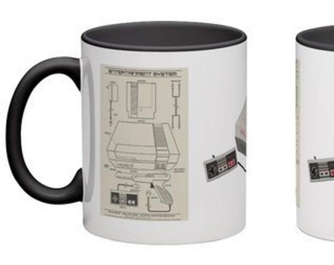 Handmade Coffee Mug NES System Blueprint console Nintendo cup wraparound PICK OWN color custom made