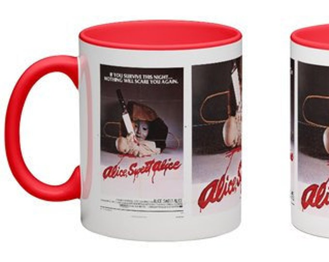 Handmade Coffee Mug Alice, Sweet Alice horror slasher movie 1976 cup wraparound PICK OWN color custom made
