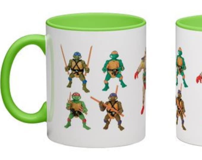 Handmade Coffee Mug Teenage Mutant Ninja Turtles action figure toy 1980's TMNT cup wraparound PICK OWN color custom made