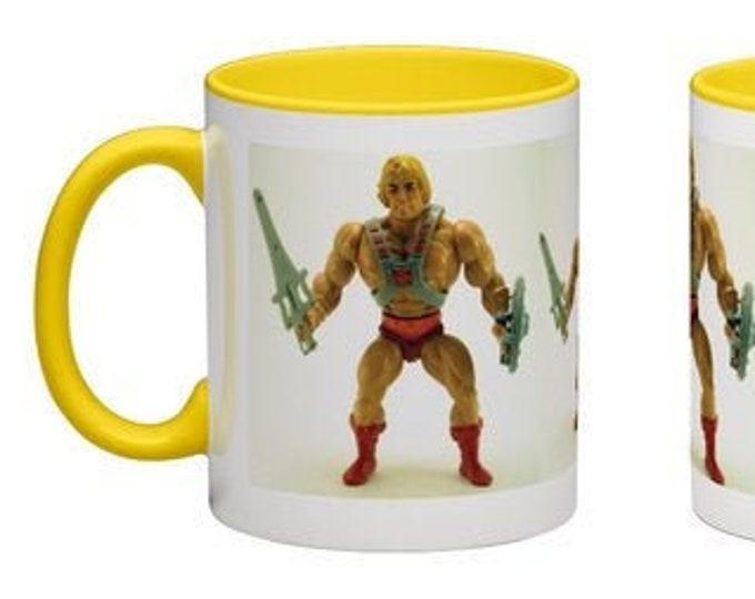 Handmade Coffee Mug He-Man MOTU action figure toy 1980's Heman cup wraparound PICK OWN color custom made