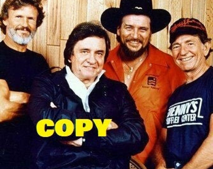 Johnny Cash Kris Kristofferson Willie Nelson & Waylon Jennings The Highwaymen 1980's photo picture RP 4x6
