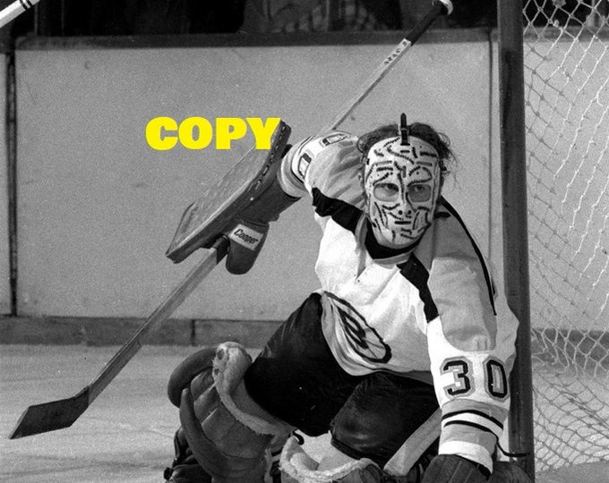 Gerry Cheevers NHL Boston Bruins 1970's goalie in action black and white picture photo RP 4x6
