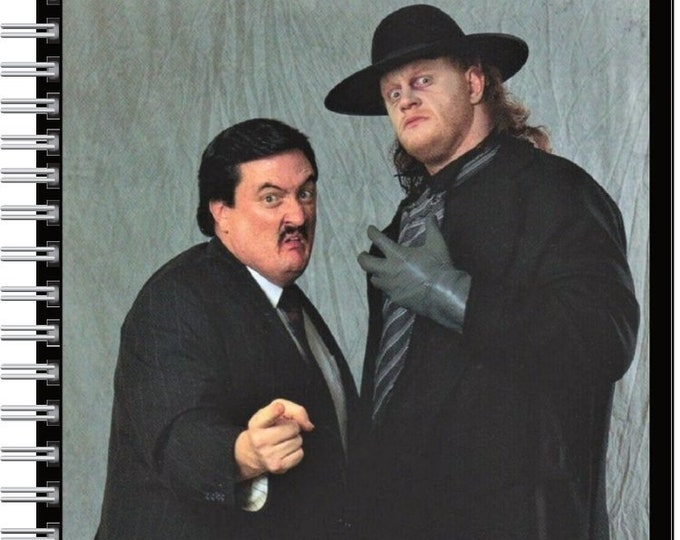 Custom handmade designed spiral ruled and lined Notebook classic WWF Undertaker and Paul Bearer notebook 1990's WWE wrestling
