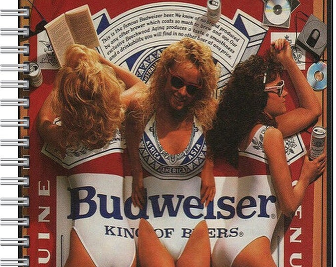 Custom handmade designed spiral ruled and lined Notebook classic Budweiser Beer ad notebook 1980's beer advertisement
