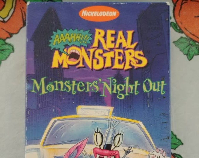 Nickelodeon Aaahh!!! Real Monsters Monsters Night Out VHS tape 4 episodes kids cartoon show series 1997 RARE orange colored tape!