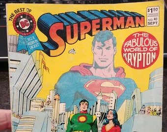 Hard to find The Best Of DC Blue Ribbon Digest Superman #40 September 1983 Canadian price variant The Fabulous World of Krypton comic book