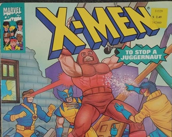 Marvel Comics X-Men To Stop a Juggernaut 1993 Random House Inc. kids comic book style book based on the TV show