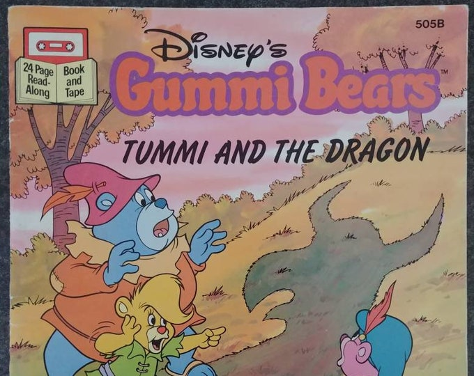 Rare Disney's Gummi Bears Tummi and the Dragon 1986 Read Along tape cassette version kids book cartoon TV show Buena Vista VHTF