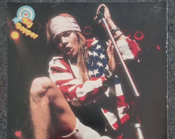 Vintage The Big Bopper Teen Magazine pull out pin up poster of Axl Rose Guns n Roses rock band 1990's