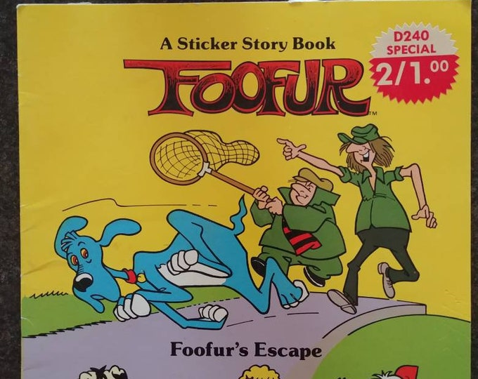 Foofur A Sticker Story Book Foofur's Escape 1987 Marvel Books kids book cartoon blue dog soft cover