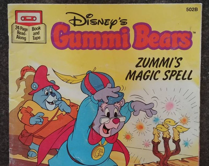 Rare Disney's Gummi Bears Zummi's Magic Spell 1985 Read Along tape cassette version kids book cartoon TV show Buena Vista VHTF