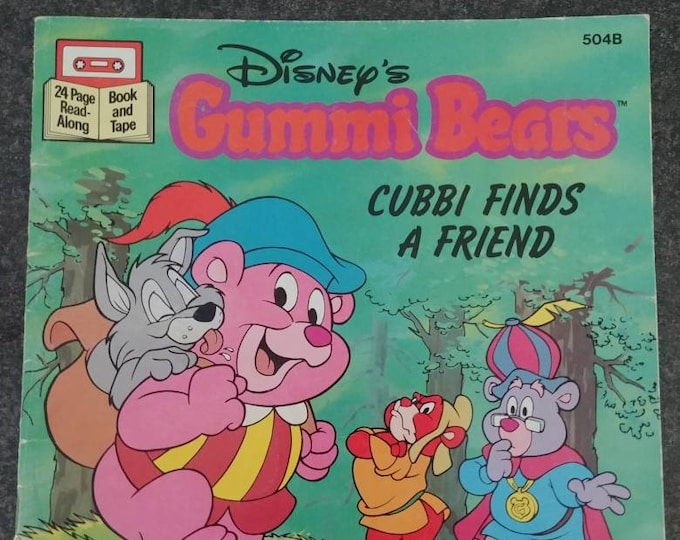 Rare Disney's Gummi Bears Cubbi Finds A Friend 1986 Read Along tape cassette version kids book cartoon TV show Buena Vista VHTF