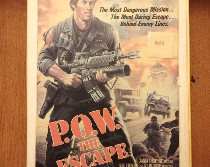 P.O.W. the Escape original 1987 release VHS tape Cannon Films Inc. Video City hard plastic VHS case David Carradine war action movie