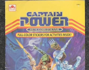 Captain Power and the Soldiers of the Future Golden Book Activity book 1987 UNUSED no writing