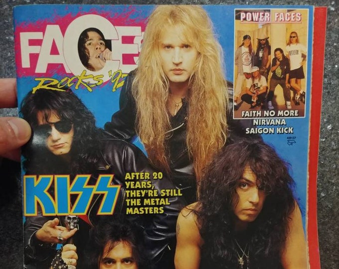 Rare vintage Faces Rocks '92 magazine 3 magazines in 1 Oct. 1992 Kiss special Guns N Roses Nirvana Saigon Kick