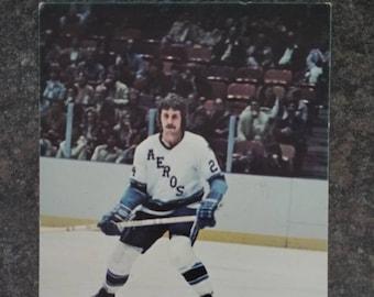 RARE WHA hockey card post card of Glen Irwin from the Houston Aeros 1970's