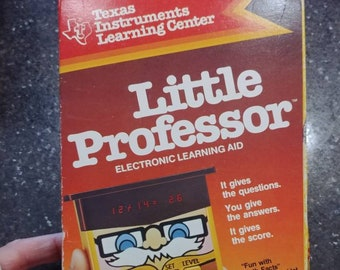 Texas Instruments Little Professor calculator 1978 version with box and papers educational toy electronic WORKS