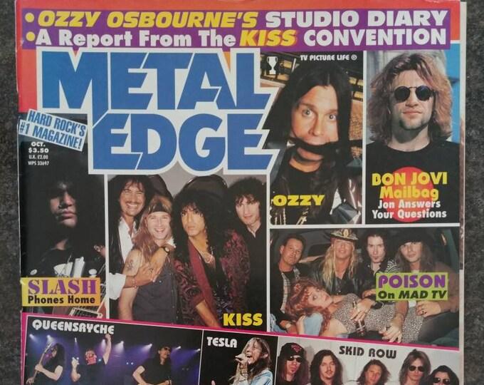 Rare vintage Metal Edge magazine Issue October 1995 Vol. 40 No. 5 Ozzy Osbourne's Studio Diary Kiss Slash Bon Jovi