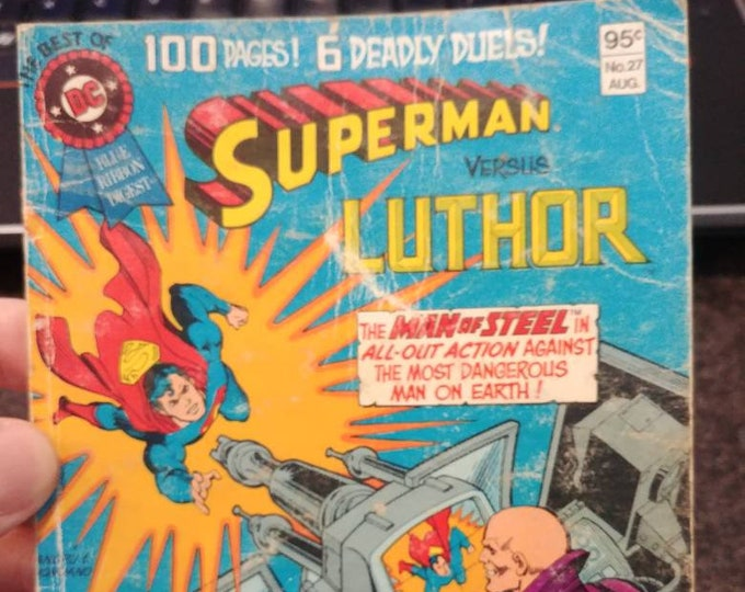 Hard to find The Best Of DC Blue Ribbon Digest Superman #27 August 1982 Six Deadly Duels comic book
