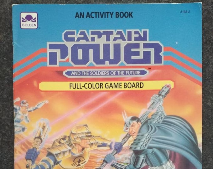 Captain Power and the Soldiers of the Future Golden Book Activity book 1987 UNUSED complete game board